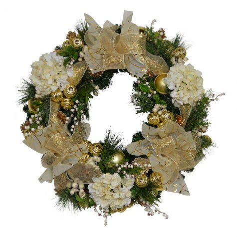 Gold Christmas Wreath.Cdwr658 Cream And Gold Christmas Wreath
