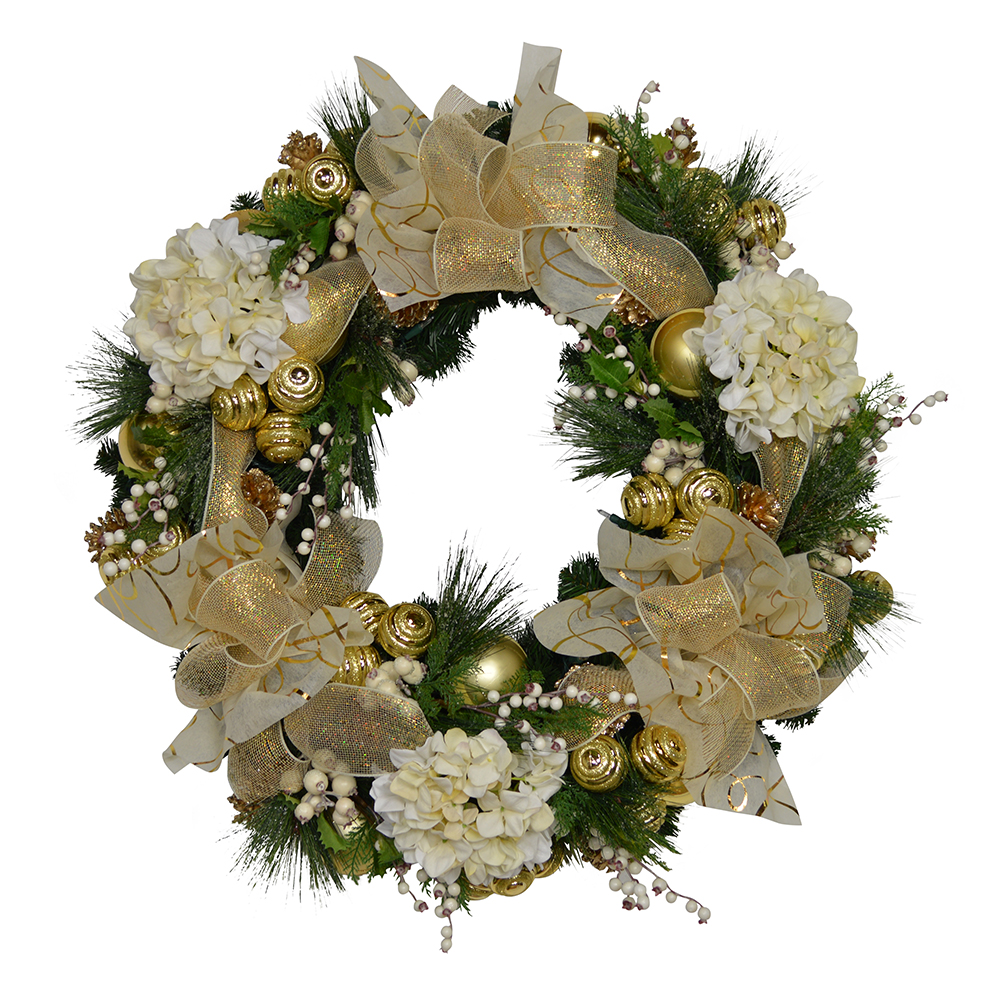 cdwr658 cream and gold christmas wreath